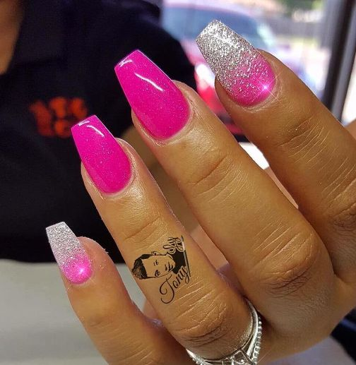 hot pink nails with diamonds - photo #24