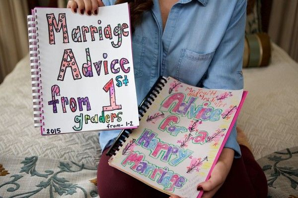 Love this wedding gift idea for a teacher - the bride got some sound marriage advice from first graders! {Arden Photography}