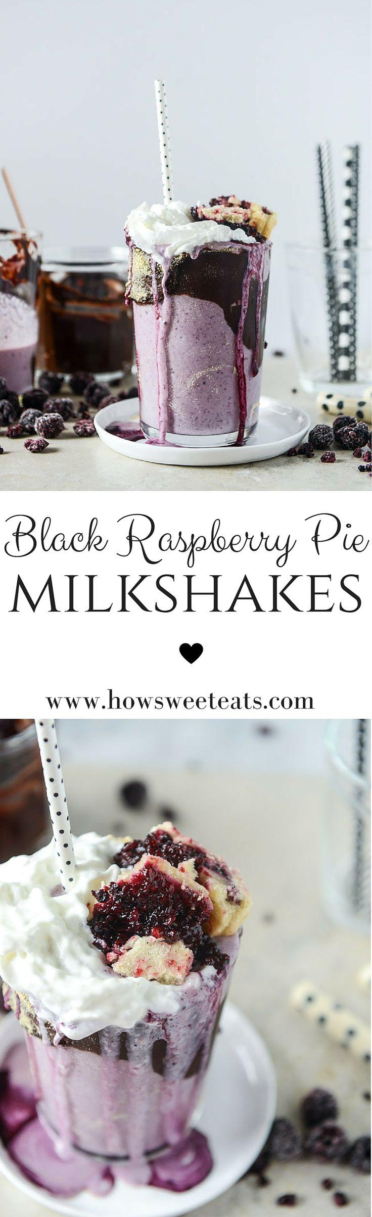 black raspberry pie milkshakes with black raspberry fudge by @howsweeteats I howsweeteats.com