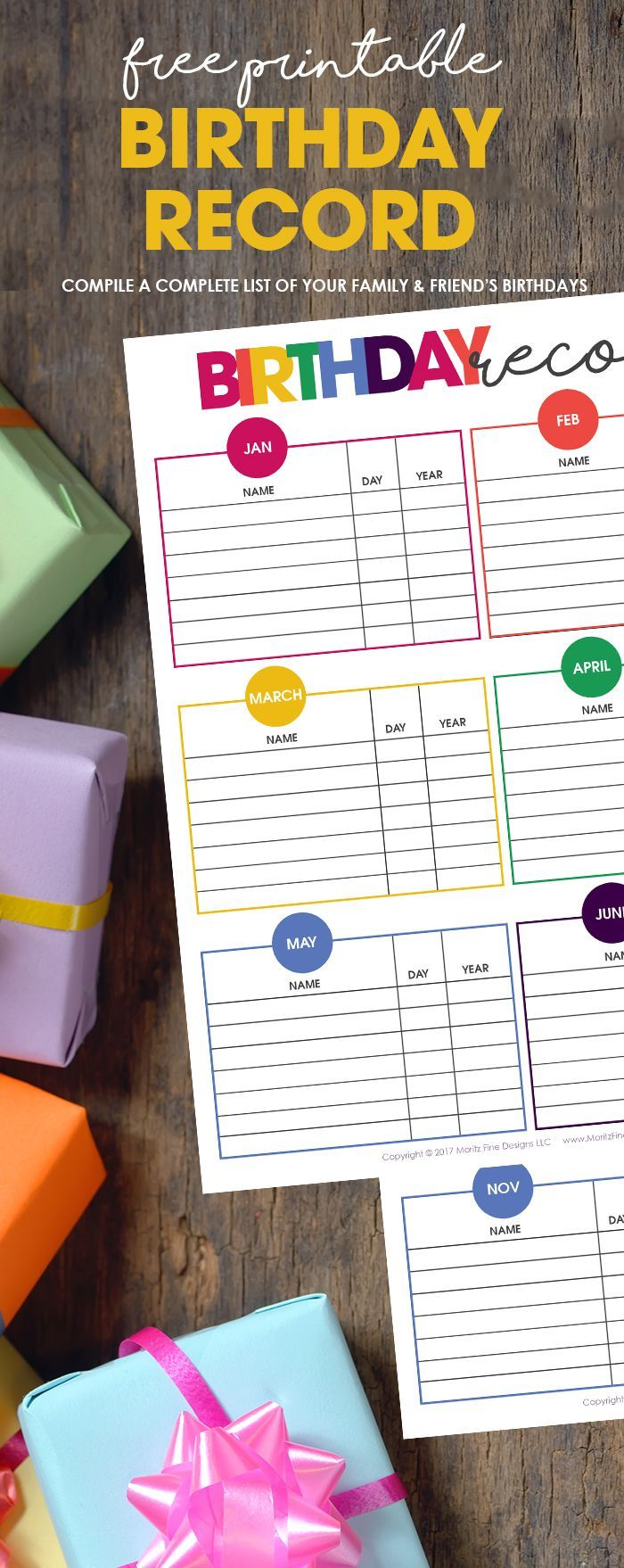 Never forget another birthday again. Use the free printable Birthday Record Keeper to compile a complete list of your family and friend's birthdays. #birthdayrecord #birthdayorganizer #freeprintable #birthdayideas