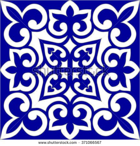 Geometric Islamic Seamless Pattern Arabesque blue and white.