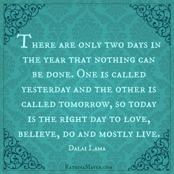 There are only two days in the year that nothing can be done. One is called yesterday and the other is called tomorrow, so today is the right day to love, believe, do and mostly live. ~ Dalai Lama