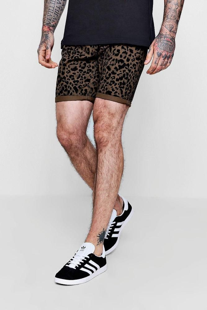 d3e027cbfc74e 17.60 Boohoo Mens Skinny Fit Leopard Print Denim Shorts | Wish list ...