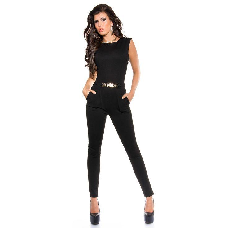 Damen eleganter Overall Jumpsuit Jumper lang Einteiler Hosenanzug figurbetont mit Goldschnalle rückenfrei in vielen Farben und Größen 38 (M) schwarz, 26,99 €