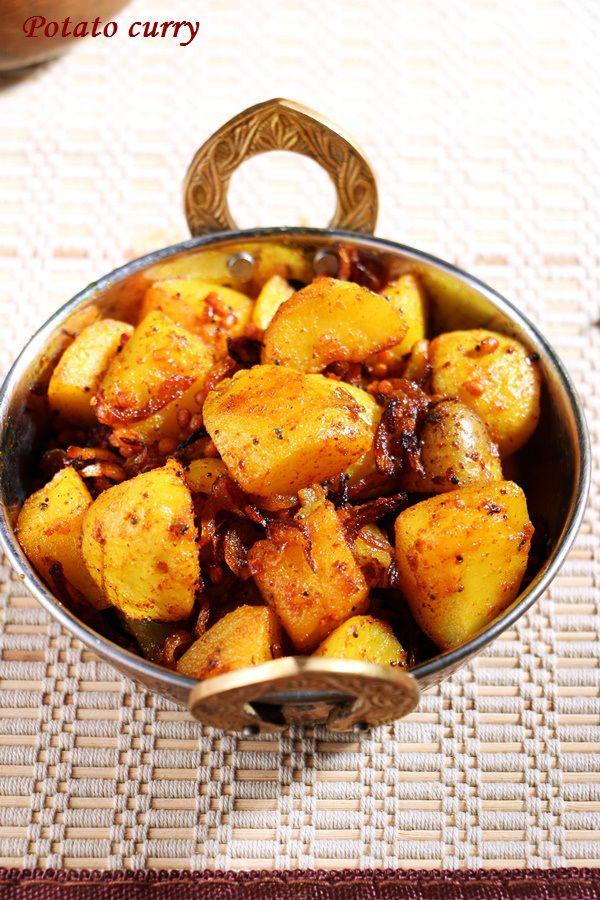 Potato curry, spicy and crispy:  Recipe @ http://cookclickndevour.com/potato-curry-recipe  #cookclickndevour #recipeoftheday #potatorecipes