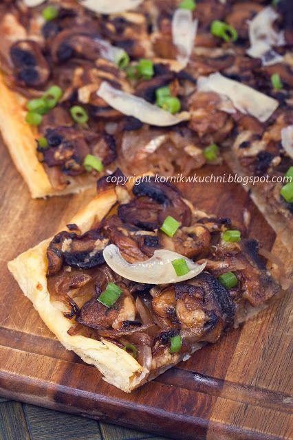 Tarta z pieczarkami i karmelizowaną cebulą | kornik w kuchni
