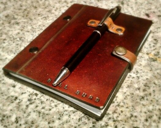 Handmade reusable leather notebook.