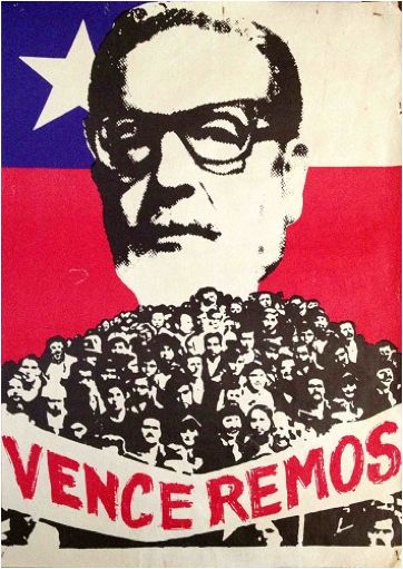Unknown artist, 1 9 7 0, Chilean photomontage poster with the flag and  Salvador Allende.
