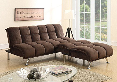 1perfectchoice Modern Adjule Sofa Futon Bed Chair Sectional Chaise Chocolate Padded Suede