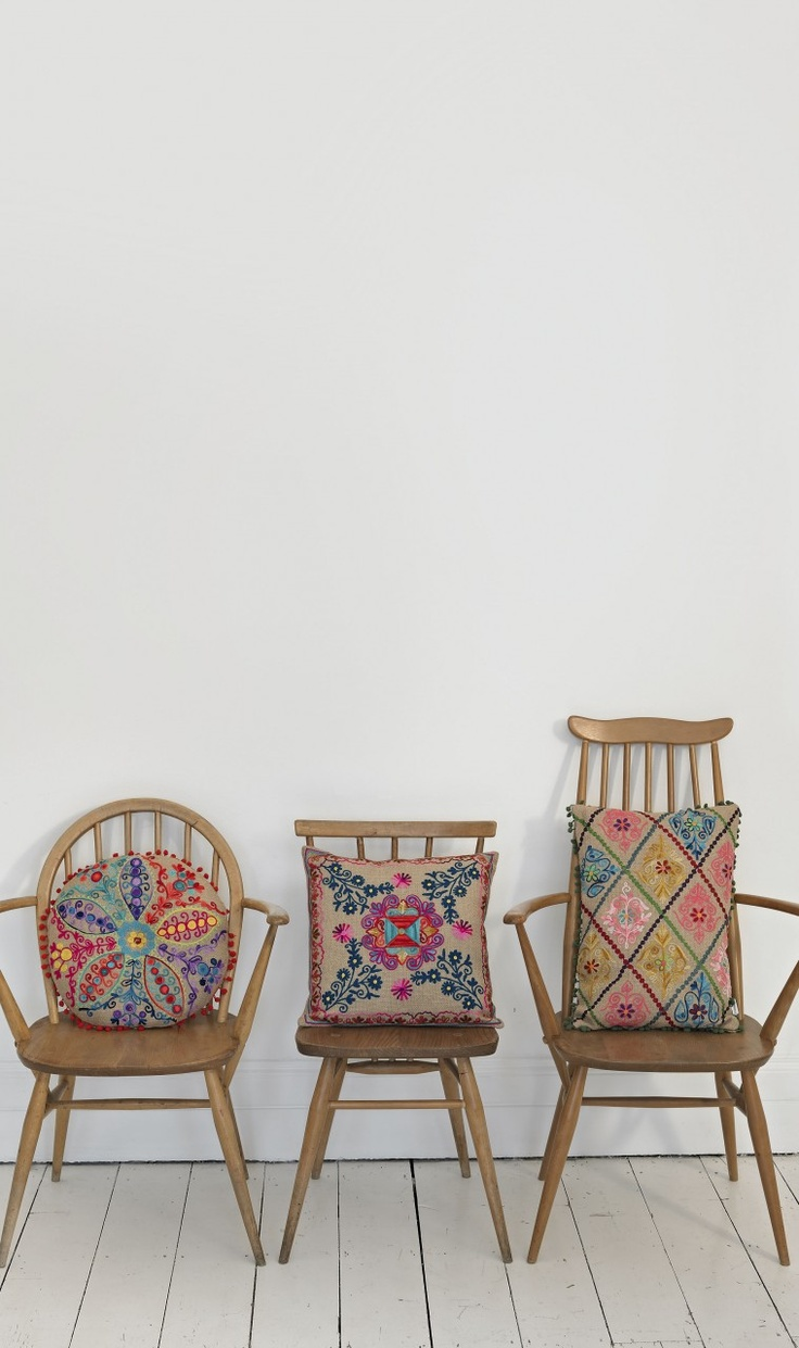 jute embroidered cushions...plumo on ercol chairs