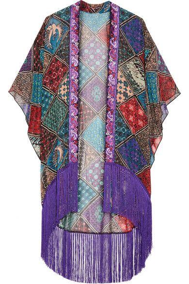 Anna Sui | Bird of Paradise fringed printed silk-chiffon kimono | NET-A-PORTER.COM