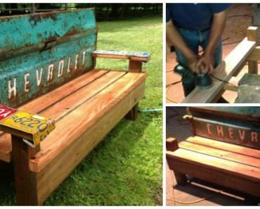 DIY Garden Bench With An Old Car Tailgate