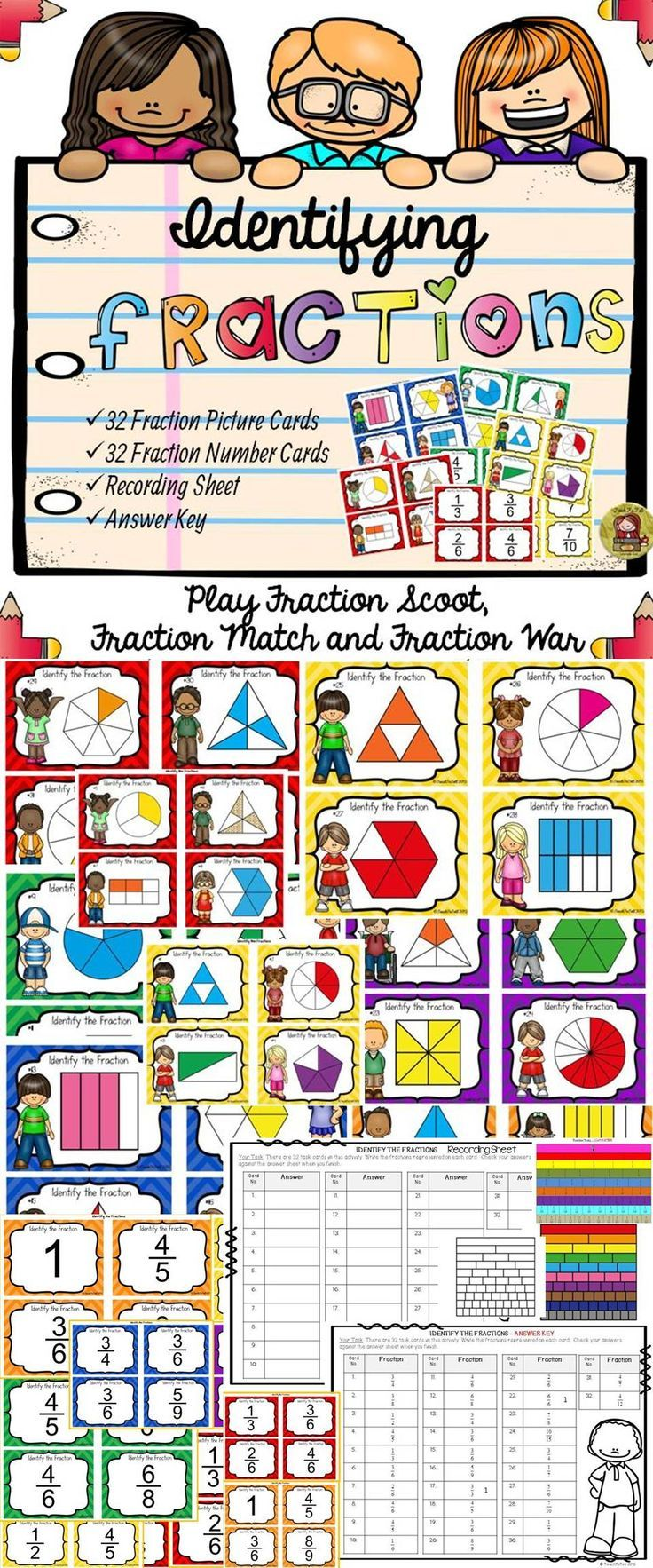 Use these 32 task cards to help your students identify fractions and their visual representations. Moreover your students can engage in three fun activities with these cards. https://www.teacherspayteachers.com/Product/IDENTIFYING-FRACTIONS-VISUAL-REPRESENTATION-2059718