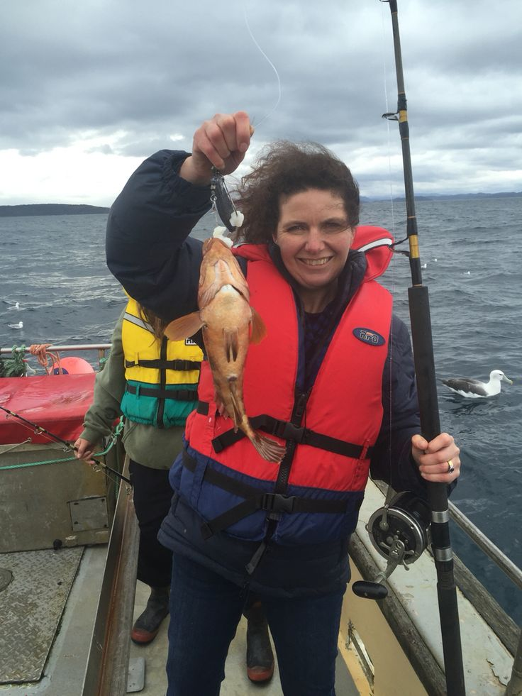Sarah with a nice fish in Stewart Island