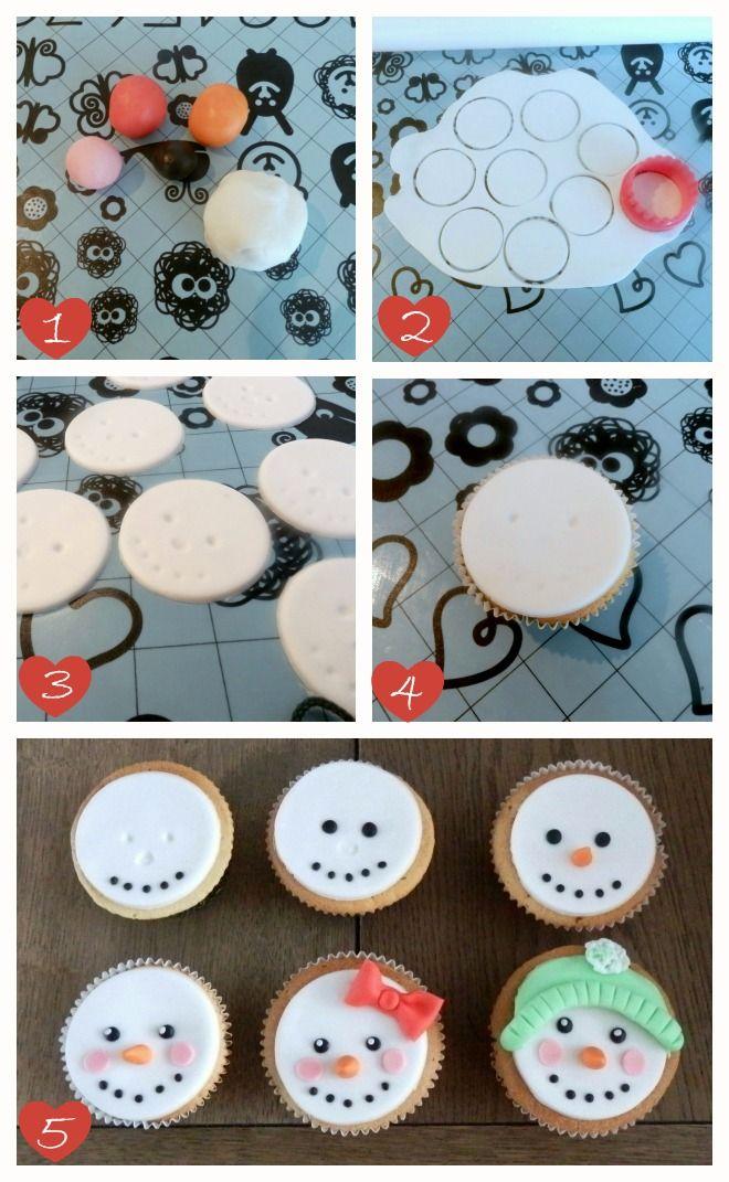 How-to sneeuwpop cupcakes, leuk en gemakkelijk om te maken (how-to cupcakes with the face of a snowman).