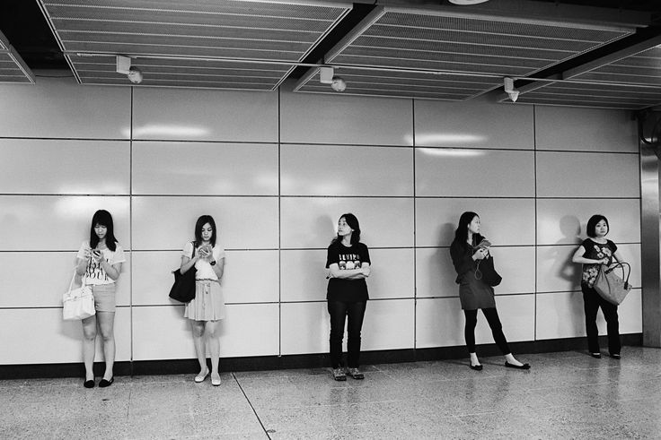 All in a Row by Tony Oliver on 500px #tony_and_dave_cosplay black-and-white people subway hong_kong