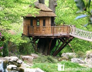 This is Cliffside Lodge treehouse built by Blue Forest. The treehouse sits in a very English garden near Bristol sensitively hugging an oak without anchors in the tree. More treehouses at www.naturalhomes.org/treehouses.htm