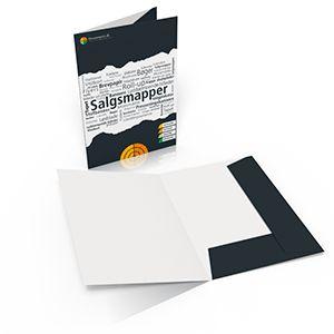 Salgsmapper - offsettryk produceres i formatet A4, med tryk på ydersiden eller inder- og yderside, trykkes på 300 gr.- Beklædt med en beskyttende vandlak.