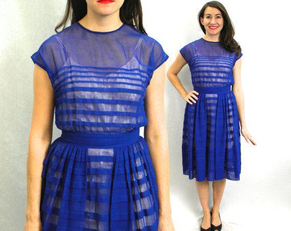 40s Royal Blue Chiffon Dress  Pleated Day by GlennasVintageShop