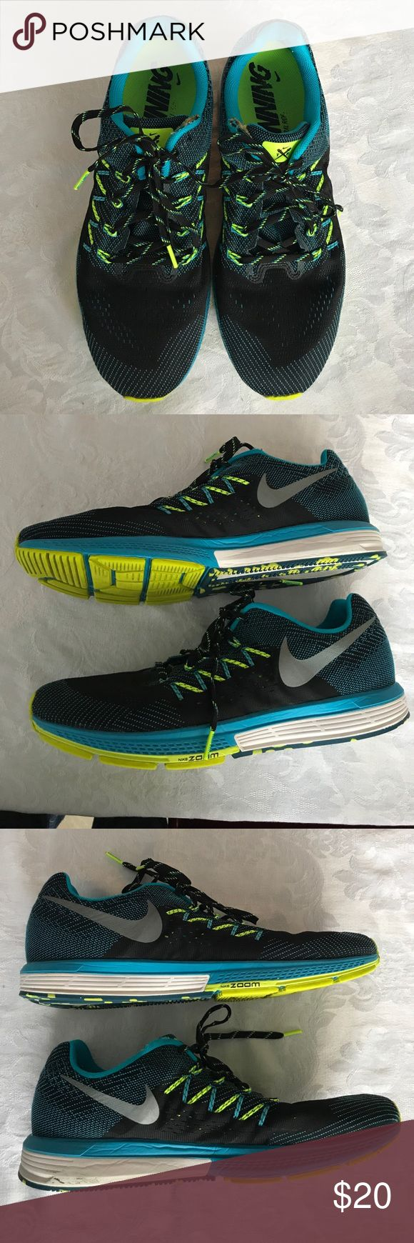 Men's Nike Zoom Neutral Ride Running Shoes Men's Nike black/teal/chartreuse Zoom Vomero 10 neutral running shoes. In great used condition other than worn spot on each shoe on top above laces (see photos). Nike Shoes Sneakers
