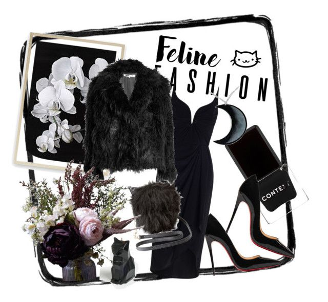 """Black kitty"" by bernadett-soos on Polyvore featuring Context, PyroPet, Christian Louboutin, Zimmermann, Charlotte Russe, McQ by Alexander McQueen, Abigail Ahern and Curiology"