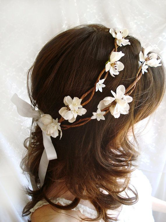 Wedding Hair Wreaths   rustic chic wedding head wreath - BO PEEP - ivory flower hair crown