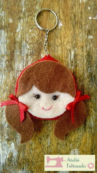 Chapeuzinho vermelho Chaveiro, Imã ou ponteira de lápis. *Ótimo para lembrancinha de aniversário, chá de bebê ou maternidade.