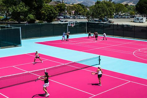 Everything is pretty in pink. Even #tennis courts!