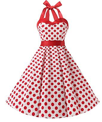 Vestido retro años 50 blanco con lunares rojos, primavera verano