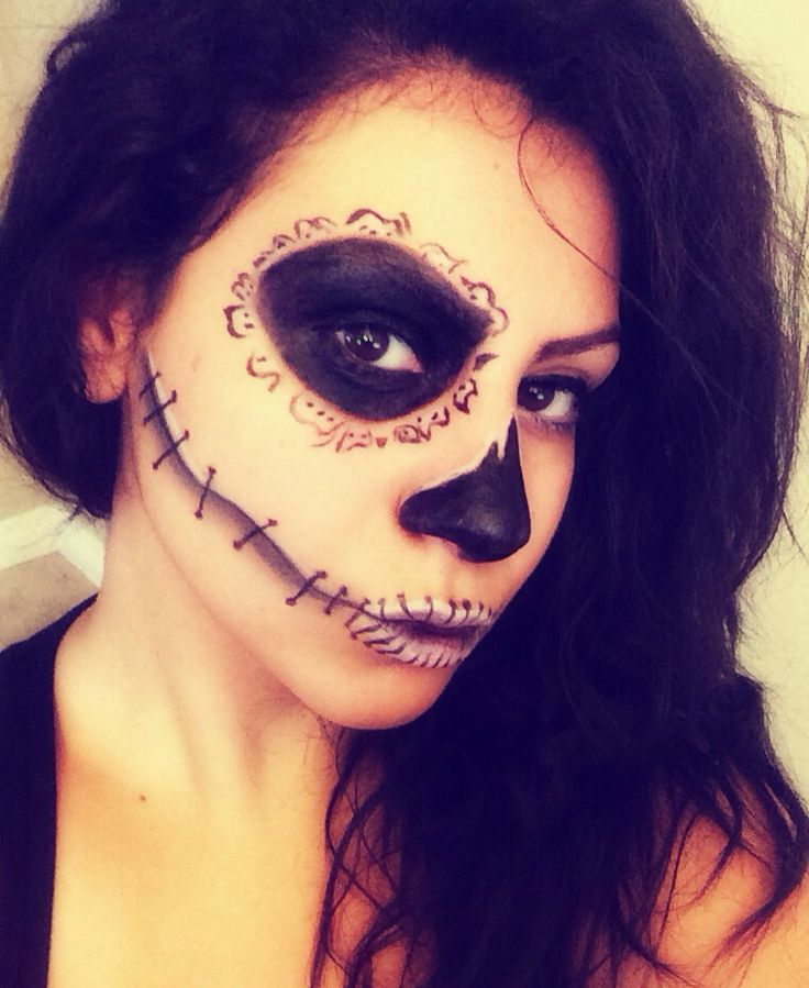Halloween Makeup Half Skeleton. | Makeup | Pinterest | Paint Halloween And Emo