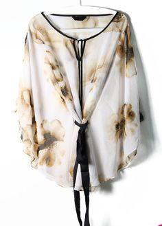Beige Batwing Sleeve Sashes Floral Chiffon Blouse - Sheinside.com