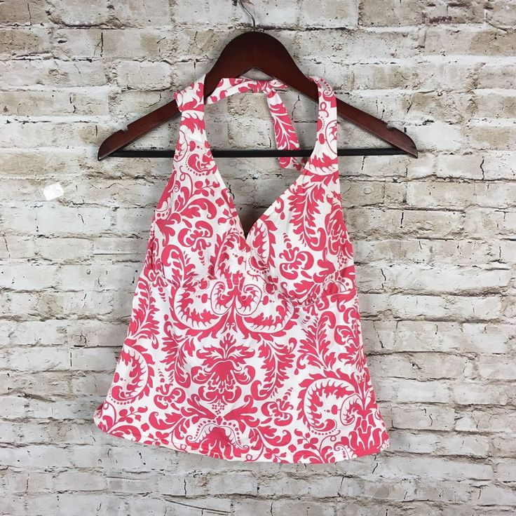 Lands End womens pink white paisley tankini top sz 12 padded cups EUC    eBay