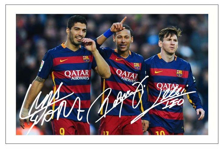 Luis Suárez Neymar Jr & Lionel Messi Fc Barcelona Foto Firmada impresión Soccer | eBay