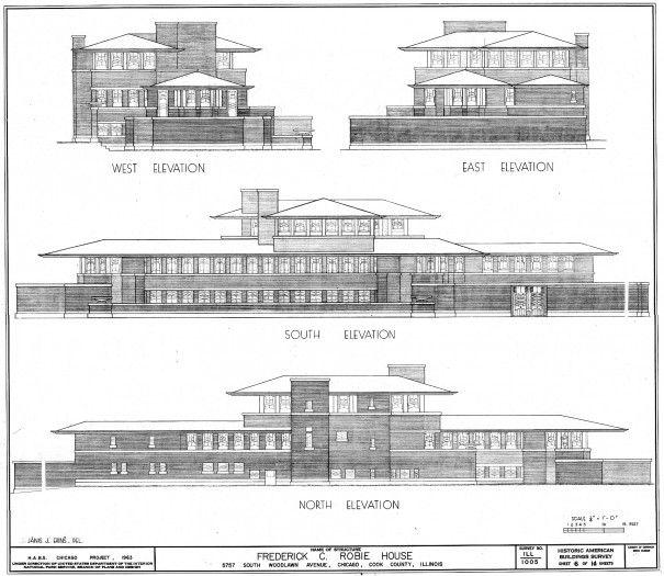 Elevations. Robie House. Prairie Style. Frank Lloyd Wright. 1910. Chicago, Illinois