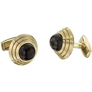 Stainless Steel Gold IP with Black Onyx Cuff Links Toggle Back Round Stainless Steel Gold Immerse Plate Cuff Links. Comes with Gift/Presentation/Storage Box. Genuine Black Polished Onyx Gemstone. 316L Hypoallergenic Surgical Steel.  #The_Men's_Jewelry_Store #Jewelry