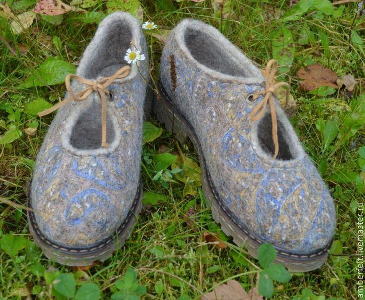 """Купить Туфли валяные """"Пейсли"""" - комбинированный, войлок ручной работы, войлок, войлок своими руками"""