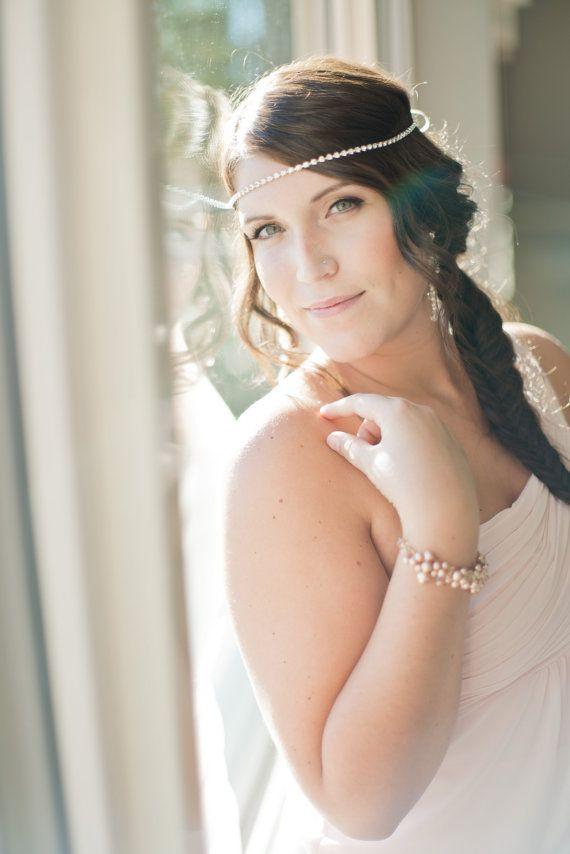 Boho Bridal Headband, Bridal Hairband, Bohemian Bridal Headpiece, Boho Head Piece on Etsy, $75.00