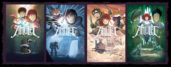 Amulet by Kazu Kibuishi.  This is one of our most popular graphic novel series with 4th and 5th graders.