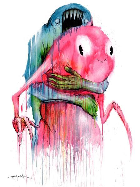 Alex PardeeAlex Pardee, Backpacks, Favorite Artists, Inspiration, Hug, Illustration, Art 3, Alex Pard Tattoo, Alex O'Loughlin