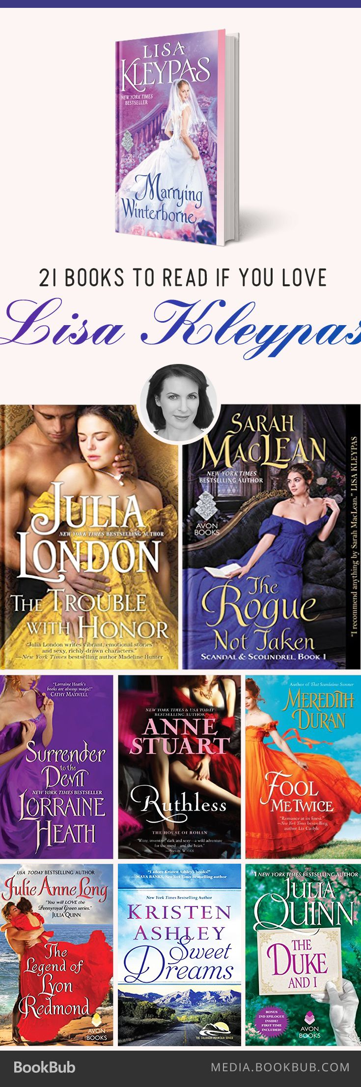21 books to read if you love Lisa Kleypas, including historical and contemporary romances.