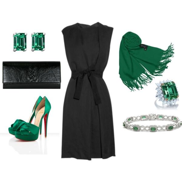 Zwarte jurk, groen colbert, groene schoenen (kan ook blauwe jurk)