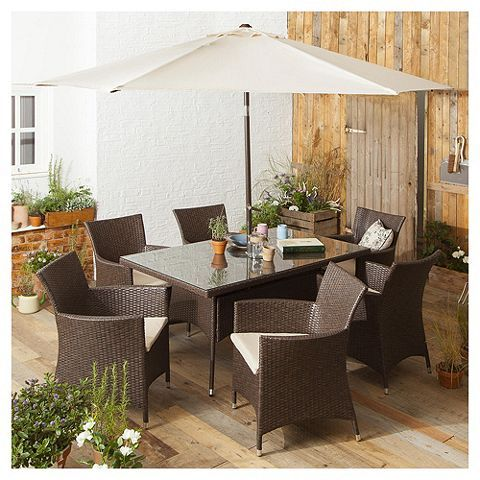 Tesco direct: Rattan Rectangular Garden Dining Set, Brown, 8 piece