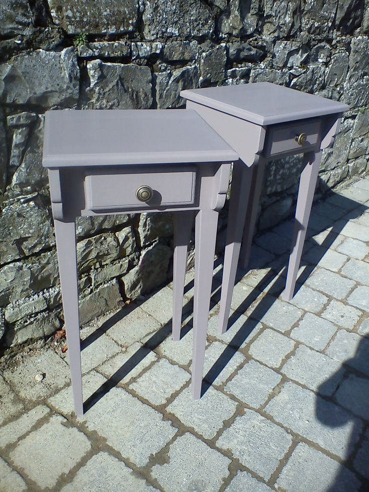 Bespoke hand made bedside tables, designed by Re-loved. Hand painted in 'Aubergine' from Autentico Paint