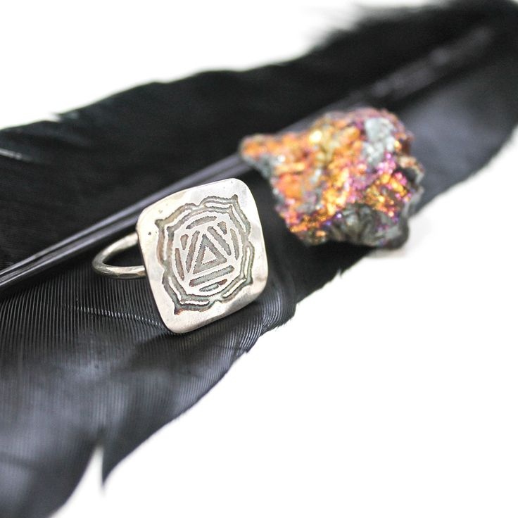 ROOT CHAKRA - Sterling Silver Square Statement Ring
