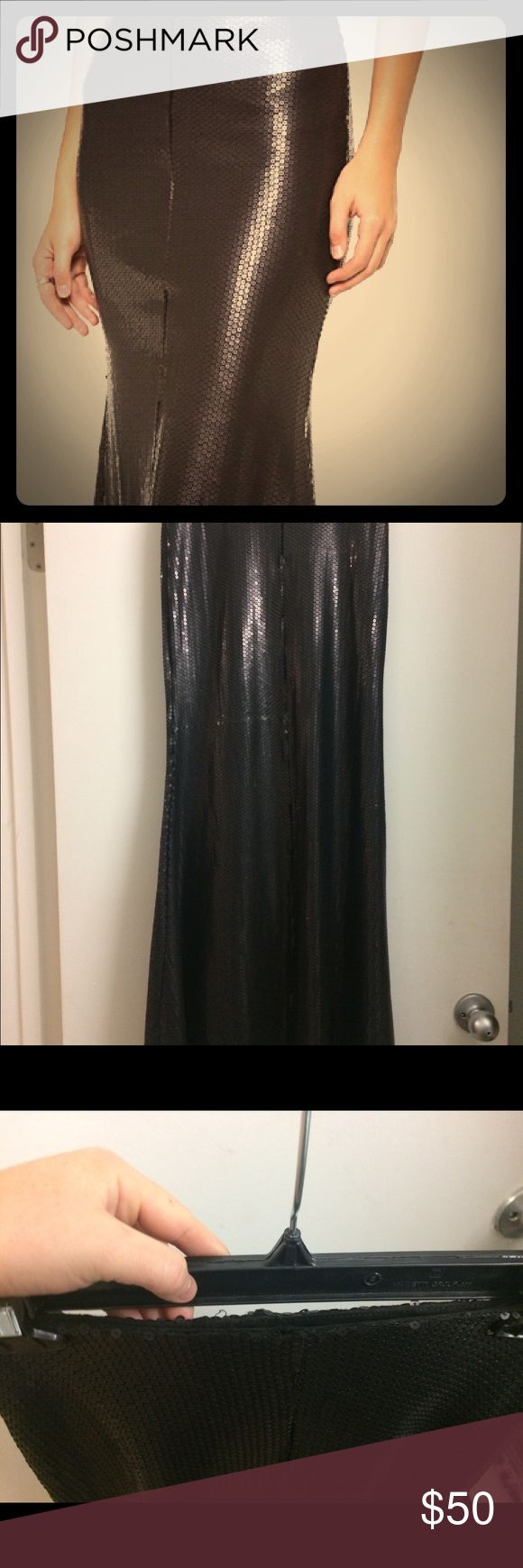 """Line & Dot mermaid black sequin maxi skirt Waist: 26-27"""" at natural waist Length: 41 inches Material: Shell is 100%polyester, lining is 94% polyester, 6% spandex  Only worn a few times, great fit, stretches with wear. Good condition. Sequins are all intact, few bent around the backside. Fish tailed hem with a covered elastic waist. Partially lined. Higher rise at natural waist  Skirt only for sale Line & Dot Skirts Maxi"""
