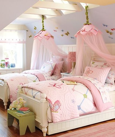 Chloe wants a 4 poster bed with full on canopy. I wonder if I could get away with a pink small canopy like this.