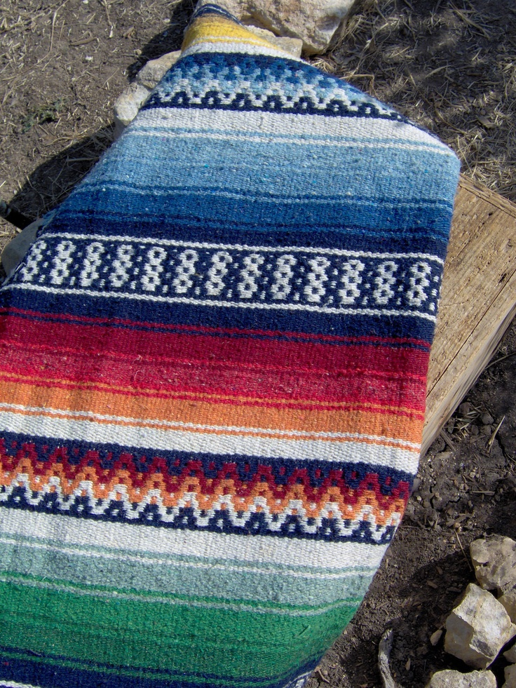 Beautiful Vibrant Colors Mexican Falsa Blanket Htf