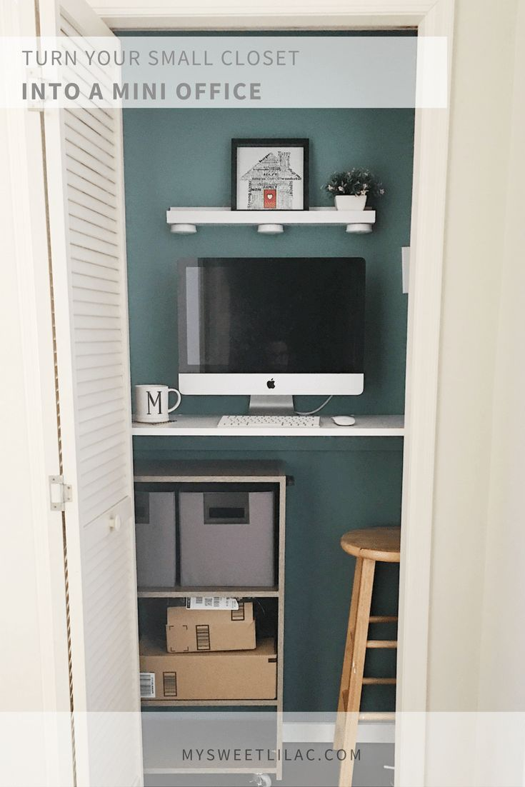Turn Your Small Closet into a Mini Office - My Sweet Lilac