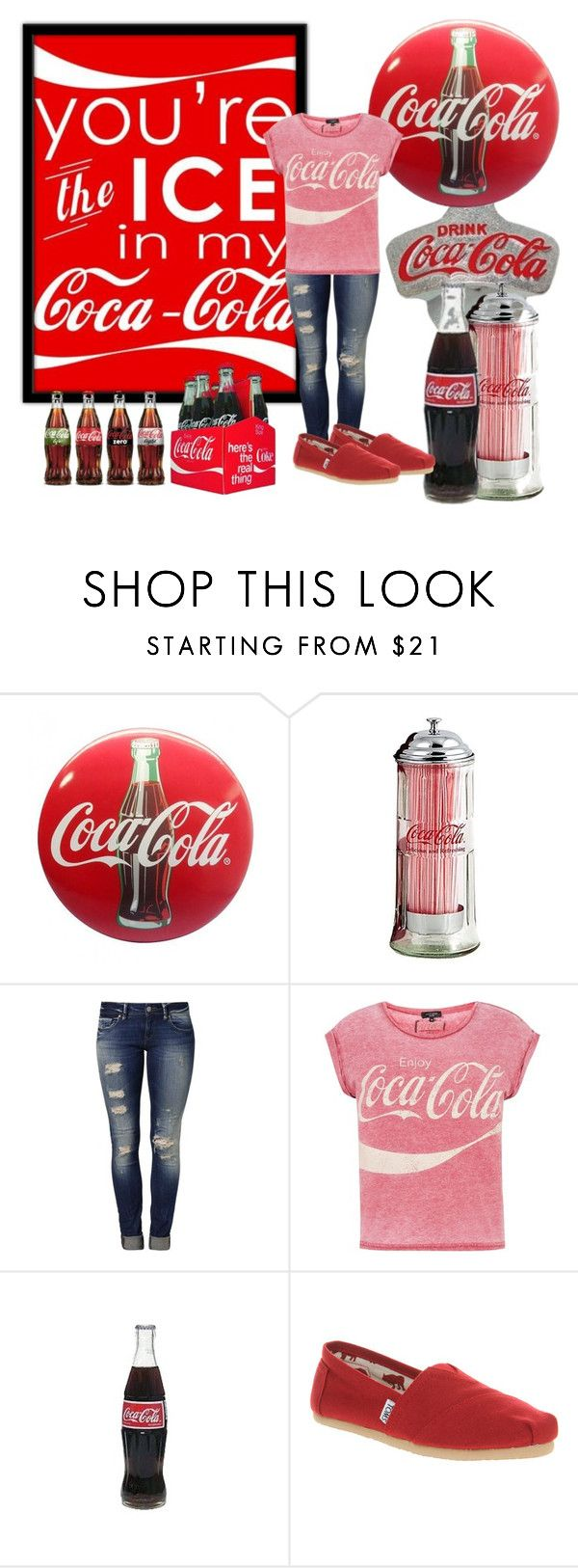 """""""Open Happiness"""" by sheskindabri ❤ liked on Polyvore featuring Mavi, TOMS, red, toms, cocacola and soda"""