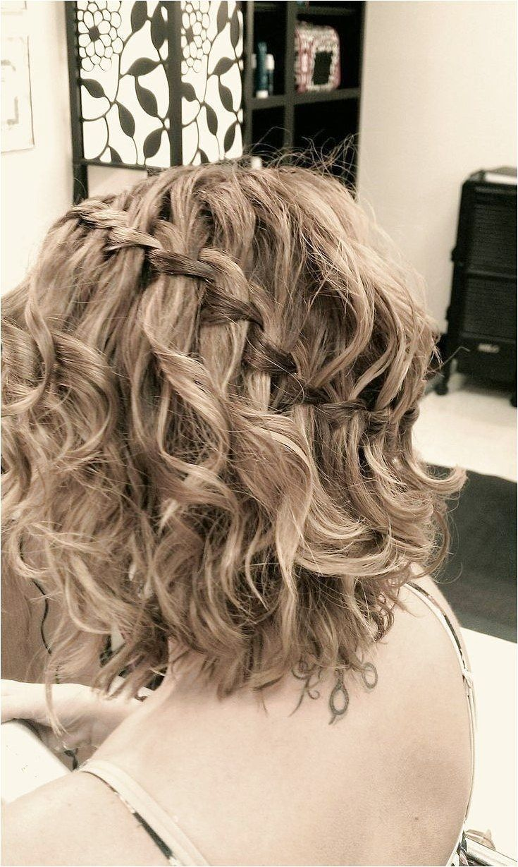 Waterfall Braid for Short Curly Hair – Prom Short Hairstyle Ideas
